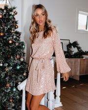 Be A Doll Sequin Tie Dress - Rose Gold - FINAL SALE view 3