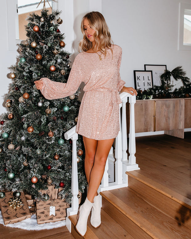 Be A Doll Sequin Tie Dress - Rose Gold - FINAL SALE view 9