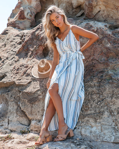 Be Wise Cotton Striped High Low Maxi Dress