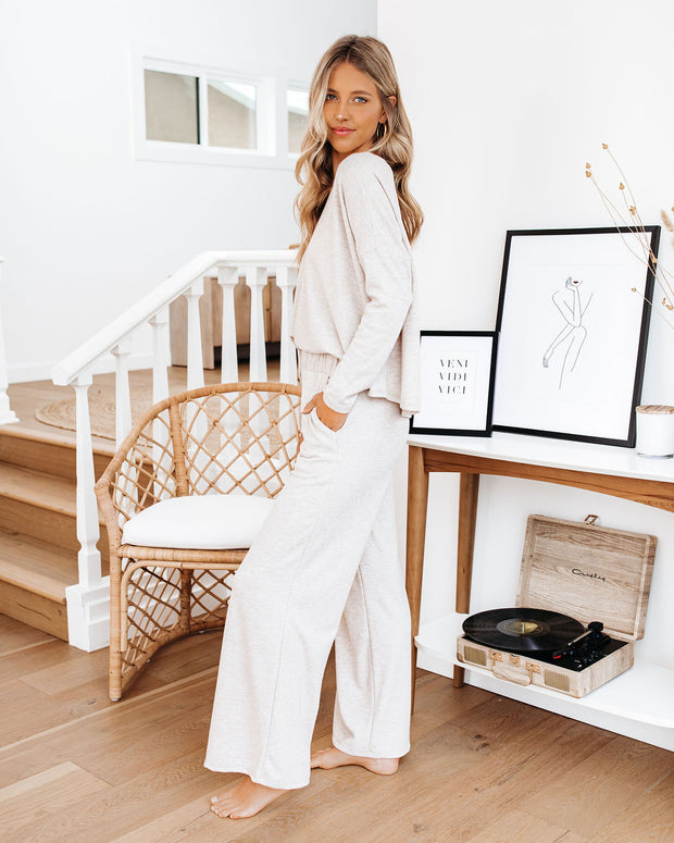 Beauty Sleep Pocketed Wide Leg Knit Pants - Oatmeal