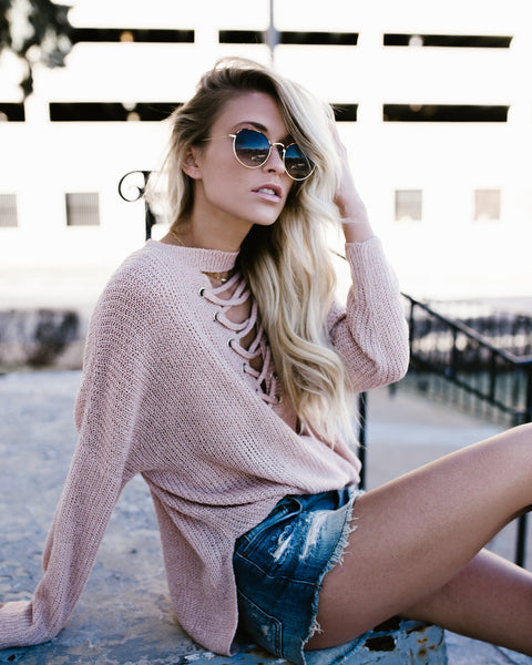 Bella Lace Up Sweater