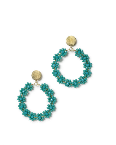 Bellflower Beaded Drop Hoop Earrings - Turquoise