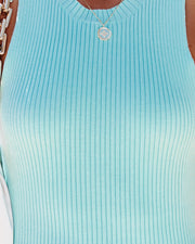 Best Behavior Cotton Ribbed Bodycon Dress - Blue view 4