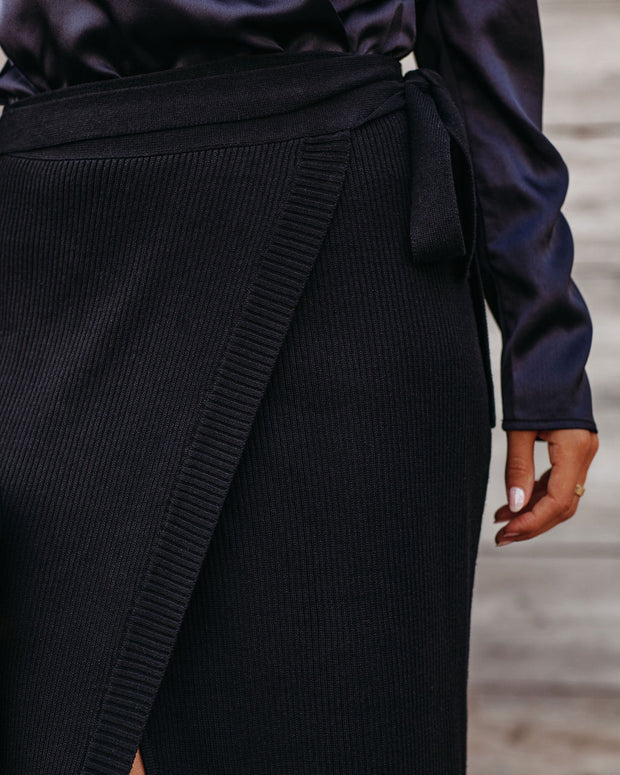 Best For Last Knit Wrap Midi Skirt - Black