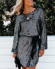 Better Than A Gift Sequin Tie Dress - Gunmetal