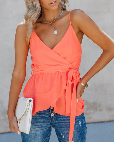 Bibi Peplum Tie Tank - Bright Orange