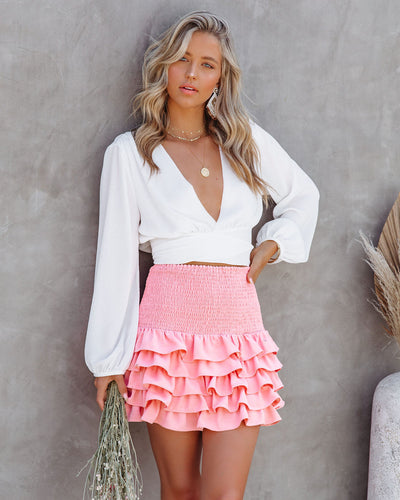 Bitsy Smocked Ruffle Tiered Mini Skirt