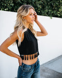 Late Night Tassel Tank - Black - FINAL SALE