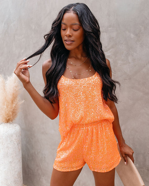 Blaze Sequin Cami Tank - Orange