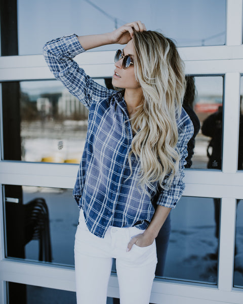 Washed Vintana Plaid Top