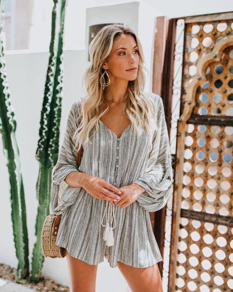 Boho Beauty Pocketed Kimono Romper - FINAL SALE