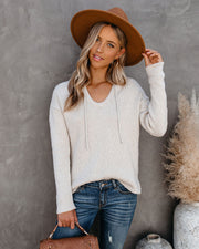 Breathe In V-Neck Hooded Knit Sweater