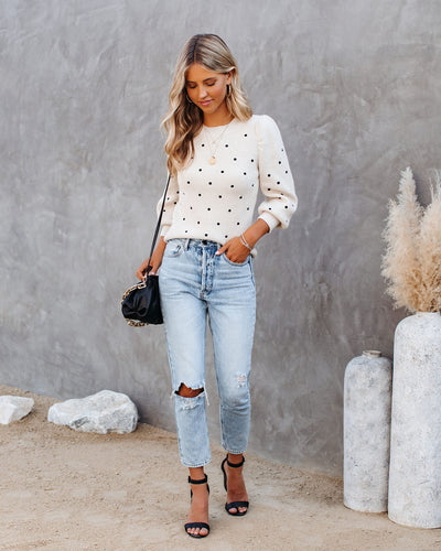 Bridges Embroidered Polka Dot Knit Sweater