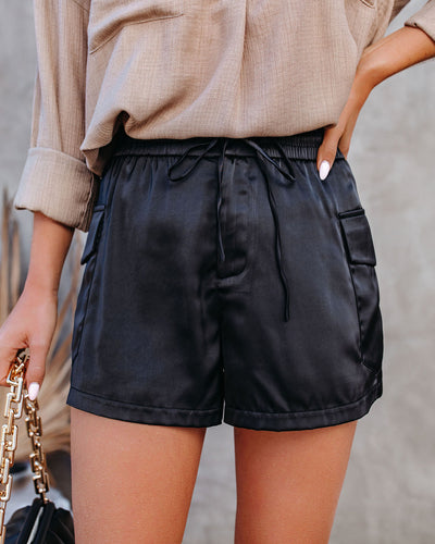 Briley Pocketed Satin Cargo Shorts - Black