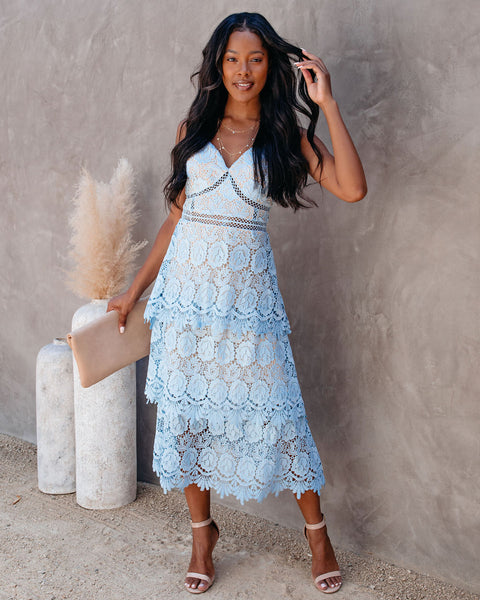 Brina Crochet Lace Tiered Midi Dress - Dusty Blue