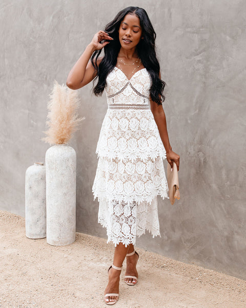 Brina Crochet Lace Tiered Midi Dress - Off White