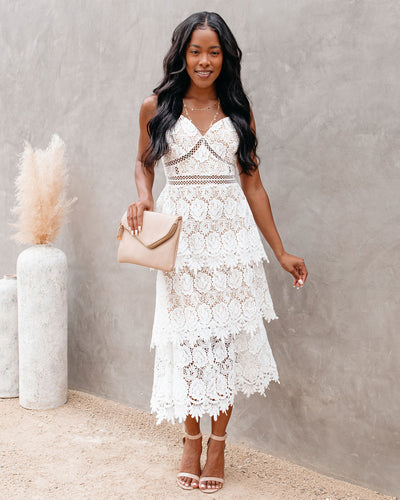 Brina Crochet Lace Tiered Midi Dress - Off White - FINAL SALE