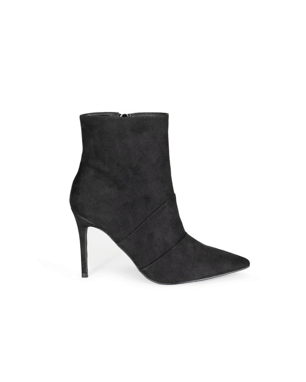 Britt Faux Suede Heeled Bootie - Black view 1