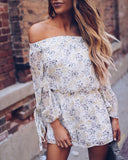 Cordelia Floral Chiffon Off The Shoulder Romper