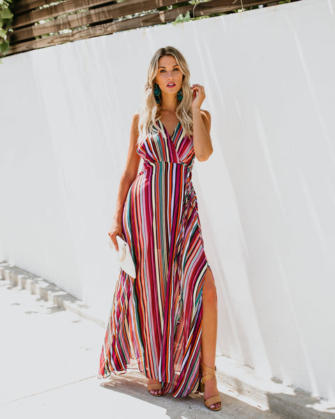 Caliente Striped Wrap Maxi Dress - FINAL SALE
