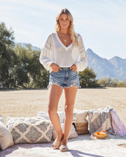 Capitol Reef V-Neck Knit Pocket Top - Off White view 3