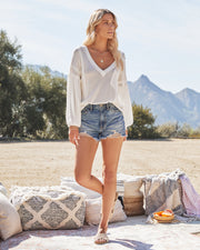 Capitol Reef V-Neck Knit Pocket Top - Off White view 6