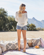Capitol Reef V-Neck Knit Pocket Top - Off White view 7