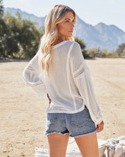 Capitol Reef V-Neck Knit Pocket Top - Off White view 8