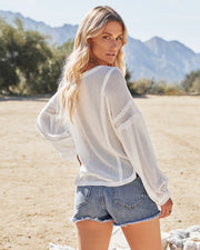Capitol Reef V-Neck Knit Pocket Top - Off White view 2
