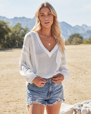 Capitol Reef V-Neck Knit Pocket Top - Off White view 9