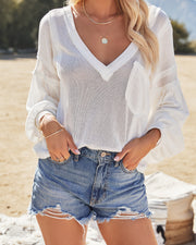 Capitol Reef V-Neck Knit Pocket Top - Off White view 12