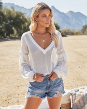 Capitol Reef V-Neck Knit Pocket Top - Off White view 1