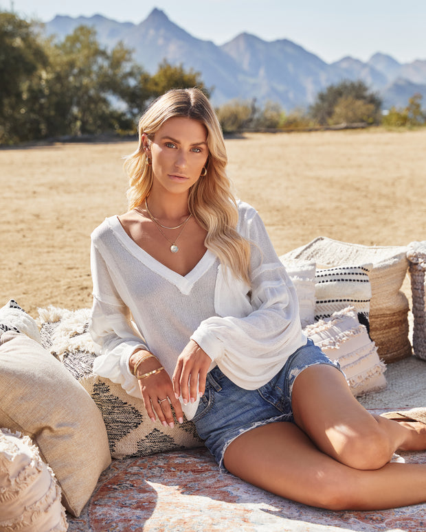 Capitol Reef V-Neck Knit Pocket Top - Off White view 5