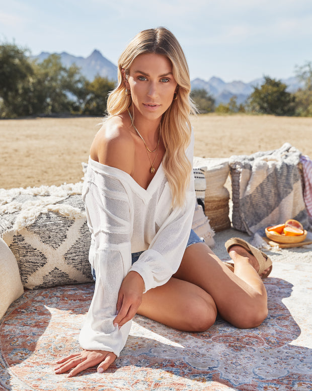 Capitol Reef V-Neck Knit Pocket Top - Off White view 13