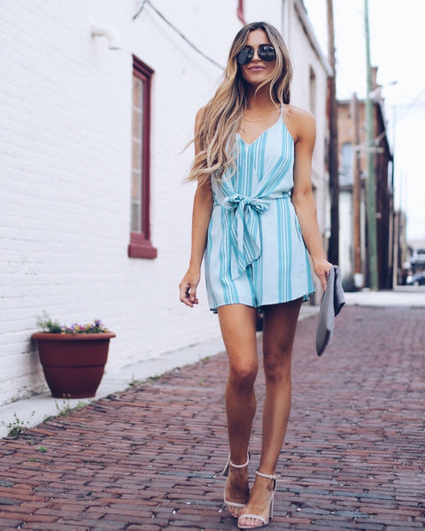 Perfection Pocketed Tie Romper - Turquoise