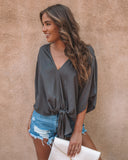 All Is Well Kimono Tie Top - Charcoal
