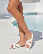 Cherie Square Toe Faux Leather Sandal - White view 4