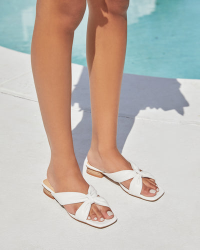 Cherie Square Toe Faux Leather Sandal - White