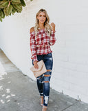 Cherry Pie Off The Shoulder Plaid Top