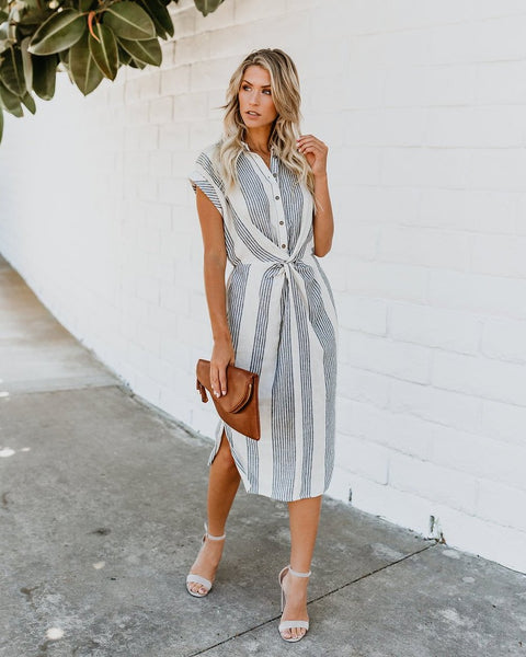Connie Striped Twist Midi Dress