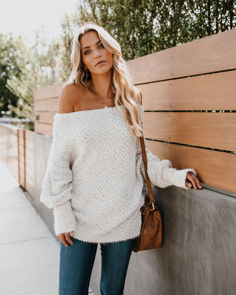 Cabin Fever Off The Shoulder Sweater - Vanilla   - FINAL SALE