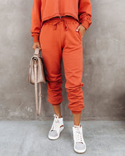 Cacey Cotton Pocketed Joggers - Amber