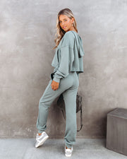 Cacey Cotton Pocketed Joggers - Fern  - FINAL SALE