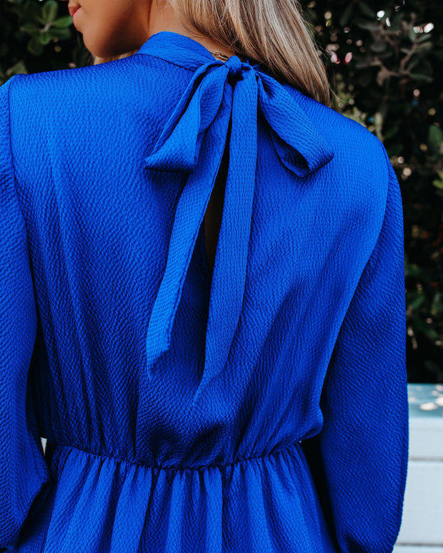 Call Me Angel Textured Satin Dress - Royal Blue view 4
