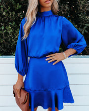 PREORDER - Call Me Angel Textured Satin Dress - Royal Blue