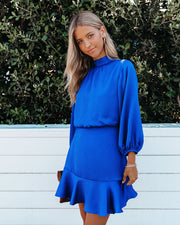 Call Me Angel Textured Satin Dress - Royal Blue view 5