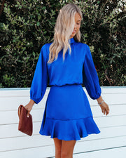 Call Me Angel Textured Satin Dress - Royal Blue view 3