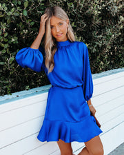 Call Me Angel Textured Satin Dress - Royal Blue view 7