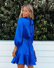 Call Me Angel Textured Satin Dress - Royal Blue view 2