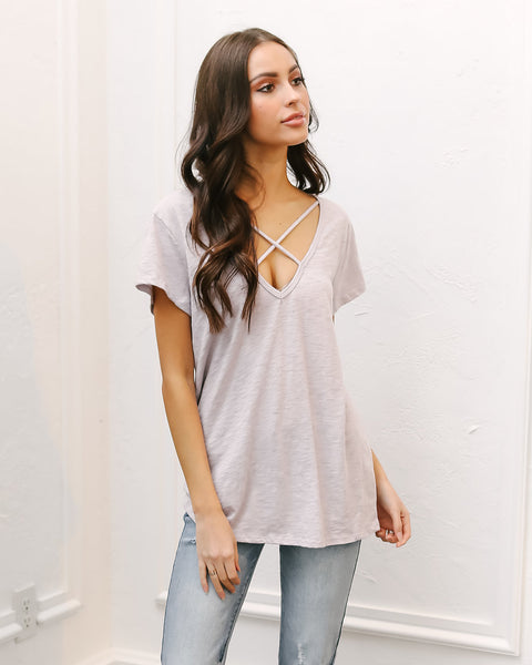 Smitten Cotton Criss Cross Tee - Lavender - FINAL SALE